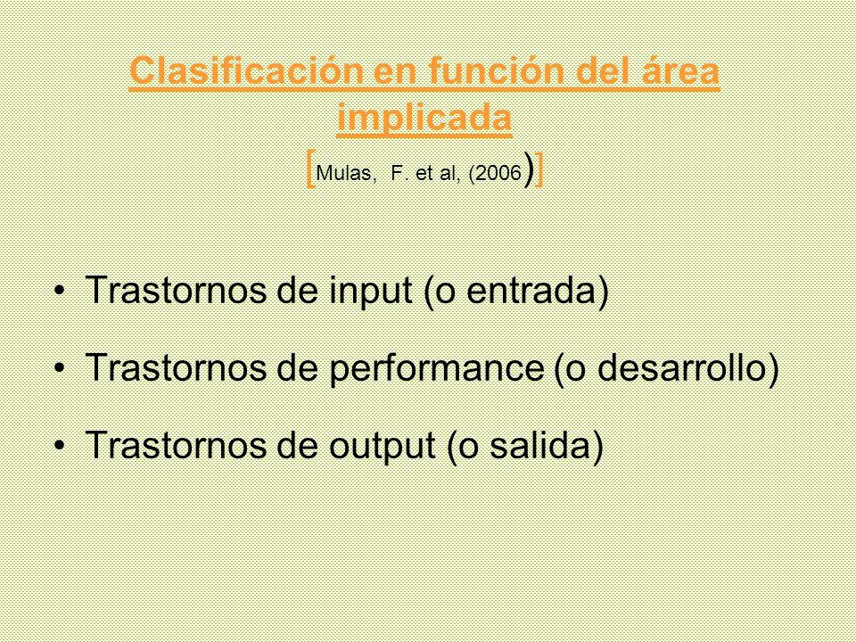 Clasificación en función del área implicada [Mulas, F. et al, (2006)]
